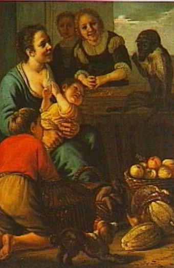 Jan Victors Marktkoopvrouwen met een aapje coll privee