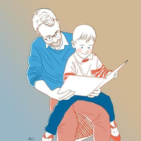 papa enfant portrait de famille belette dessiné personnalisé lecture conte