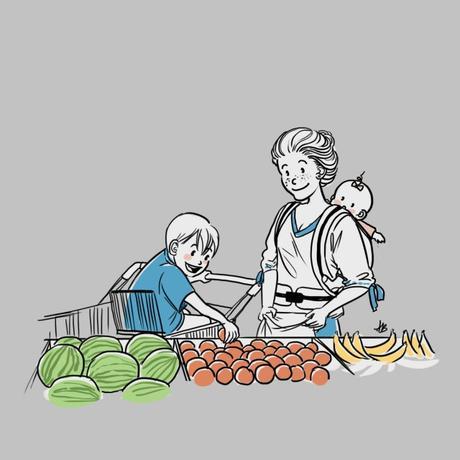 défi la famille belette portrait dessiné personnalisé dessin courses supermarché noel décembre enfant et maman fruits