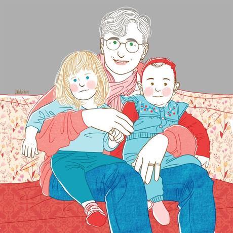 la famille belette portrait personnalisé dessiné dessin noel décembre grand mère petits enfants genoux reunion retrouvailles