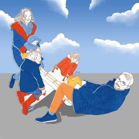 Parents papa maman enfants balançoire jeu extérieurla famille belette portrait dessiné personnalisé idée cadeau
