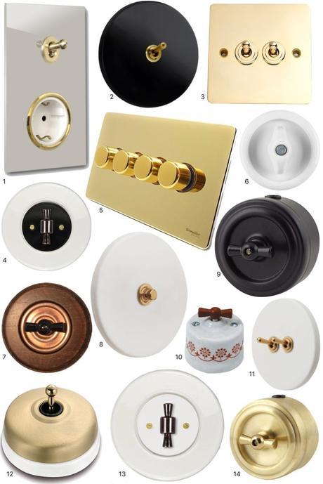 prise interrupteurs vintage retro design porcelaine noire adresse pas cher - blog déco clem around the corner