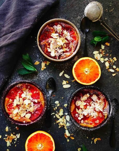 orange sanguine , amandes , frangipane , fève tonka