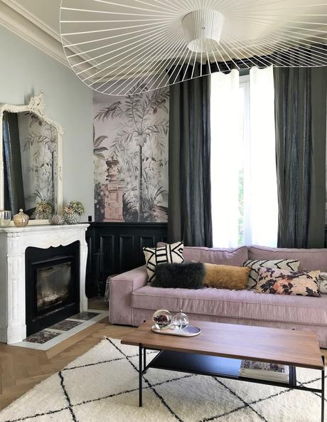 salon design rénovation vertigo canapé velours côtelé rose - blog déco - clemaroundthecorner