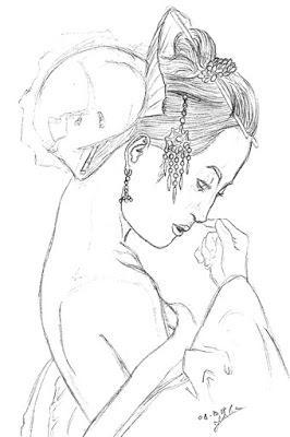 Crayonné d'une Geisha d'après photo