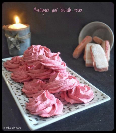 Meringues aux biscuits roses
