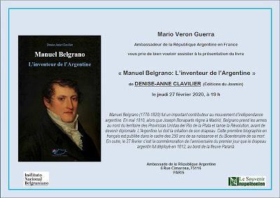 Belgrano: trois vies en une, conférence à l'Ambassade argentine à Paris [ici]