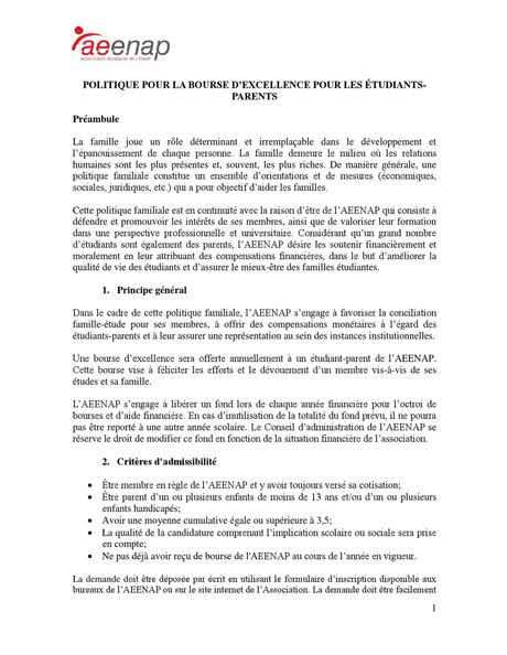 Politique bourse d'excellence etudiants-parents by Asso ...