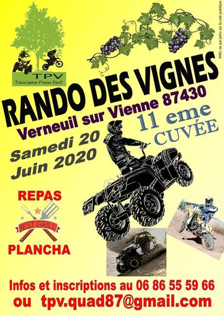 11 ème Rando des Vignes du TPV, le samedi 20 juin 2020 à Verneuil sur Vienne (87)