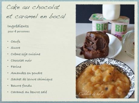 Cake au chocolat, caramel au beurre salé, en bocal