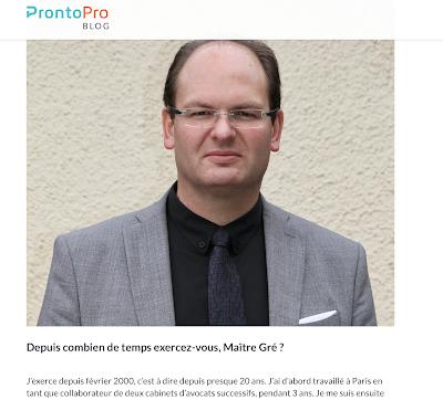 Interview de Maître Yann Gré sur le site ProntoPro
