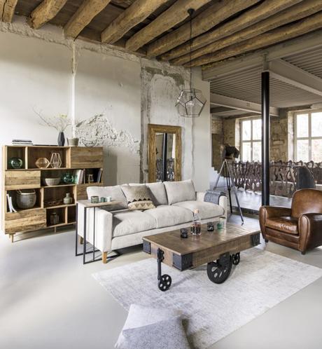 salon style industriel fauteuil cuir meuble bois table basse - blog déco - clematc