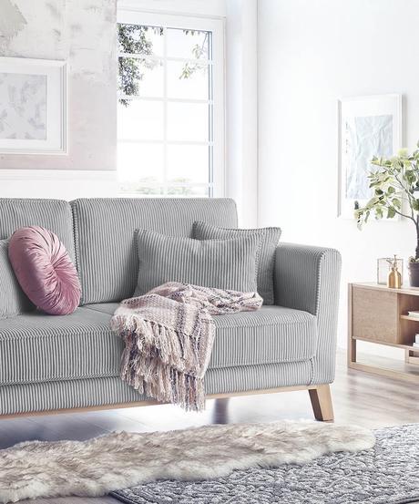 canapé droit velours côtelé gris bobochic paris - blog déco - clemaroundthecorner