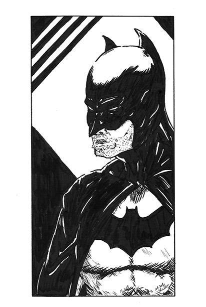 Un petit batman en noir et blanc