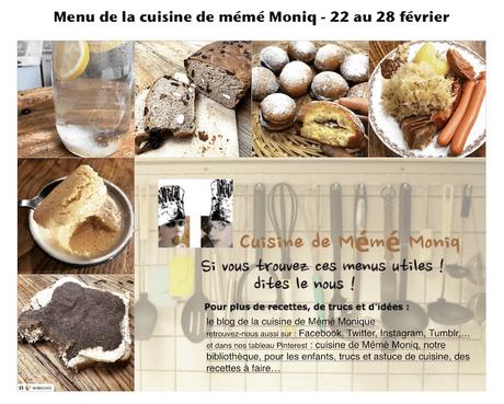 menus de la semaine du 22 au 28 février