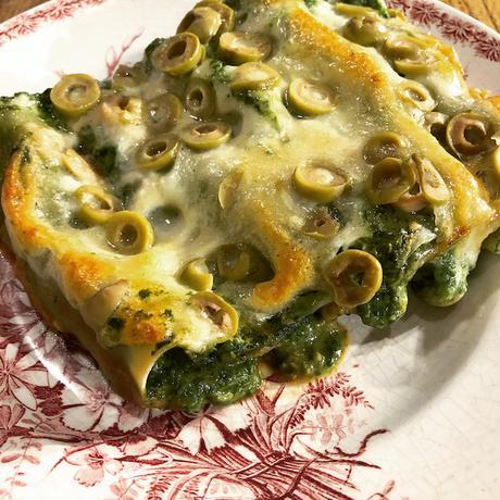 gratin de cannellonis aux épinards et parmesan
