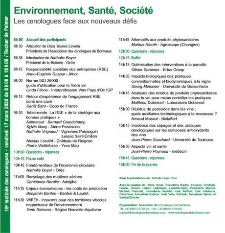 Environnement, Santé, Société ... et oenologues.