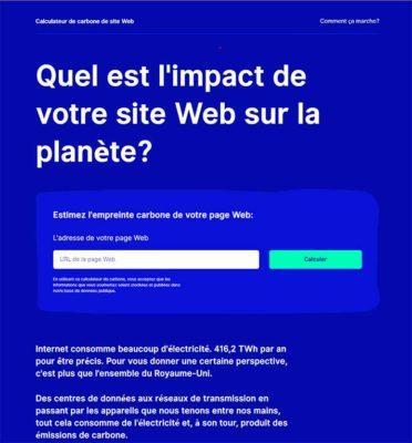Quel est l'impact de votre site Web sur la planète?