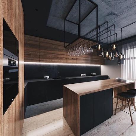 blog déco clemaroundthecorner cuisine industrielle suspension verre soufflée étagère métallique noire