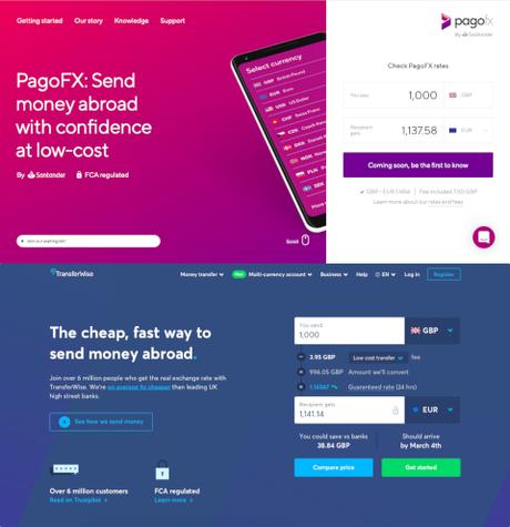 Comparaison des pages d'accueil de PagoFX et TransferWise
