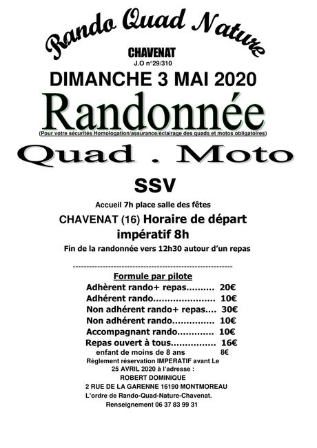 Rando quad, moto et SSV de Rando Quad Nature le dimanche 3 mai 2020 à Chavenat (16)