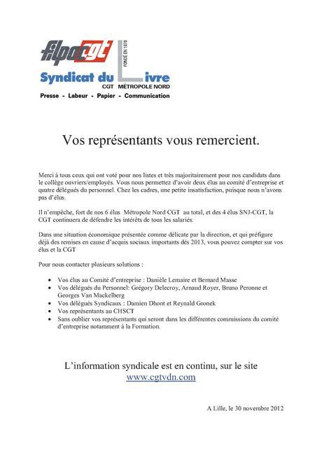 Remerciements élections 2012 - La CGT à La Voix du Nord