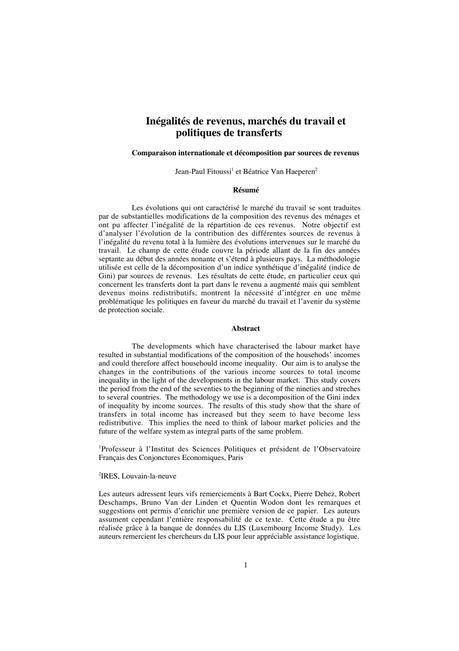 PDF) Inégalités de revenus, marchés du travail et politique ...