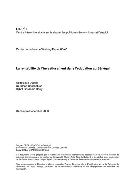 PDF) La rentabilité de l'investissement dans l'éducation au ...