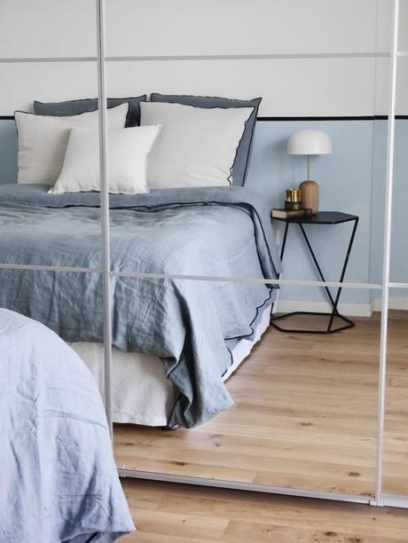 comment assortir décoration peinture mur bicolore test drap lin dépareillé