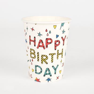 8 gobelets happy birthday - My Little Day - le blog