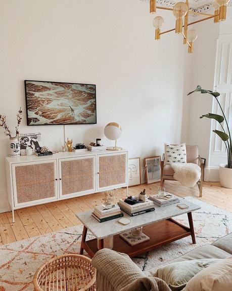 mobilier blanc salon déco sobre épurée blanc bois nature