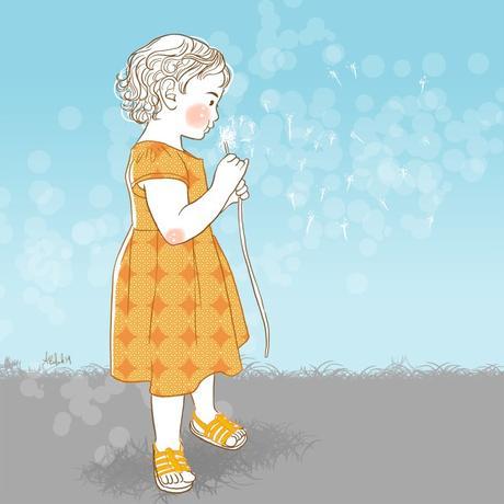 famille belette dessin stylisé portrait personnalisé pissenlit souffler fille