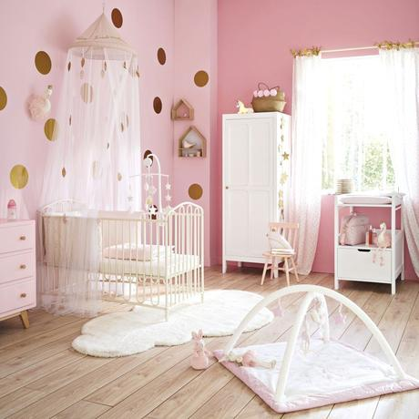 décoration parisienne chambre enfant fille rose blanc