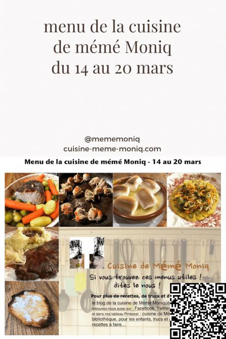 menus de la semaine du 14 au 20 mars