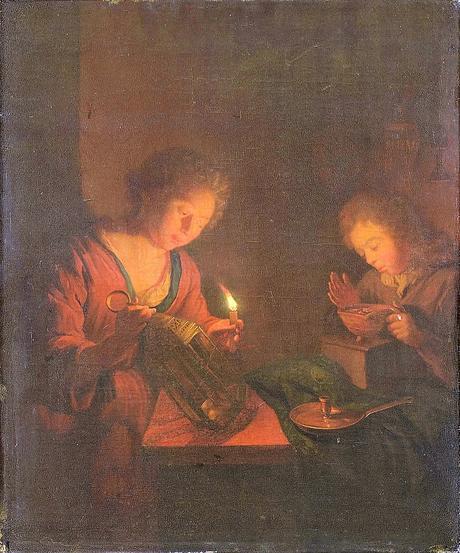 Schalcken attr 1690-1706 Een_meisje_plaatst_een_kaars_in_een_lantaarn_en_een_jongen_verzorgt_een_vuurtest_voor_een_stoof_Rijksmuseum_SK-A-370
