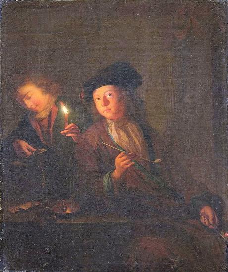 Schalcken attr 1690-1706 Een man met een pijp en een man, die zich een glas inschenkt Rijksmuseum SK-A-371