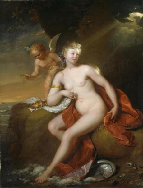 Schalcken 1690 Venus_aan_haar_toilet_in_gezelschap_van_Amor Museumslandschaft_Hessen_Kassel