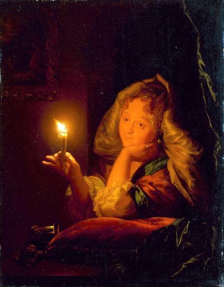 Schalcken 1685-90 Ein Madchen mit brennender Kerze Staatliche_Kunstsammlungen_Dresden