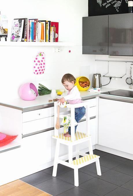 escabeau blanc jaune cuisine moderne mobilier enfant - blog décoratrice intérieure