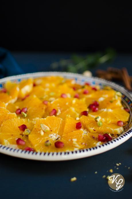 Salade d'oranges à la marocaine,  fleur d'oranger-miel-cannelle