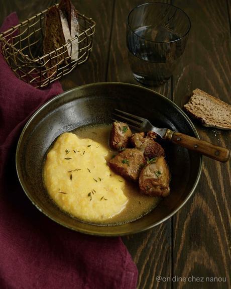 plat en sauce , joues de porc , plat familial , trop bon , cidre , polenta , courge butternut