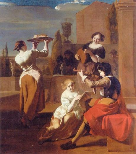 Ochtervelt 1670-74 Music making company and woman with tray in a garden coll priv
