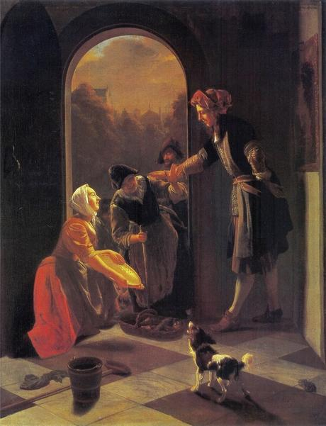 Ochtervelt 1669 Woman selling fish at the door of a house Ermitage