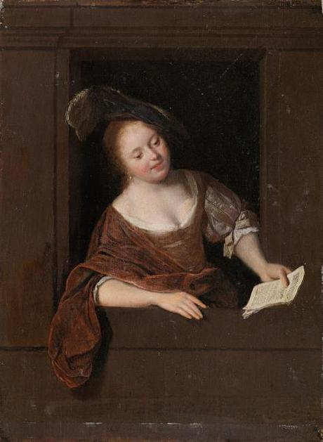 Ochtervelt 1668 Young woman singing in a window collection privee
