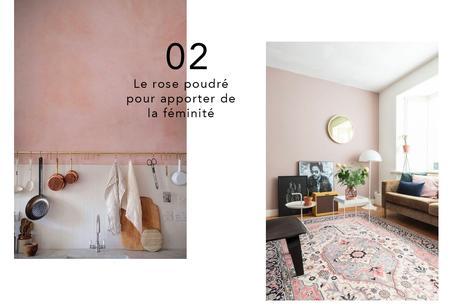 mur rose déco poudré