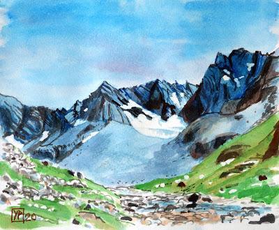 Dans la haute vallée de l'Ubaye, le glacier rocheux de Marinet (Alpes de Haute Provence)