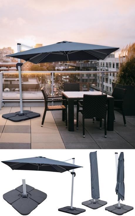 vente privée jardin parasol gris anti uv déporté design toit terrasse