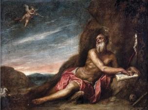 Cano ST Jerome dans le desert, coll priv 71 x 93 cm