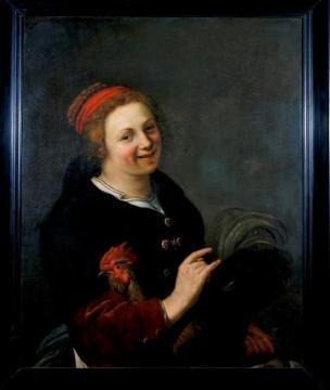 Johannes Baeck 1654 Femme avec un coq Centraal Museum, Utrecht