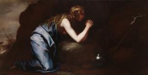 Cano vers 1653 Madeleine penitente dans le desert, Prado 104 x 205 cm